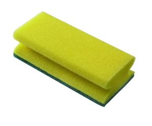 Scouring pad, green / yellow with grip