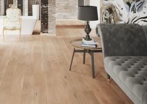Wooden floor - Oak Plank Banana, Brushed white matt lacquer