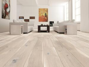 Wooden floor - Oak Plank Gentle, Brushed white matt lacquer