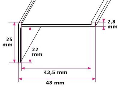 Stairs leading to 43 mm. insert, right angle