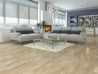 Wooden floor - Oak 3-pole Slat, White matt